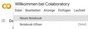 Colab neues Notebook