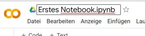 Colab Notebook umbenennen
